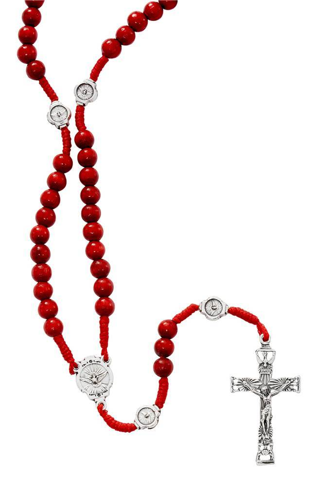 Red Wood Bead Rosary with Dove Center and Our Father Bea