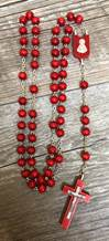 Red Wood Rosary, Made In Italy