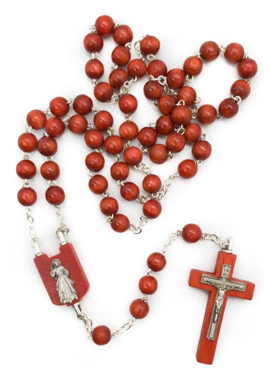 Red Wood Rosary - Made In Italy