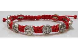 Red/Silver St. Benedict Blessing Bracelet with Story Card