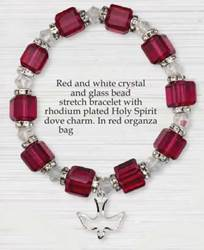 Red and White Crystal-Glass Bead Bracelet with Dove Charm