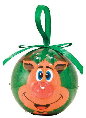 Reindeer Lighted Nose Ball Ornament