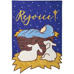 """Rejoice"" Double Applique Garden Flag"
