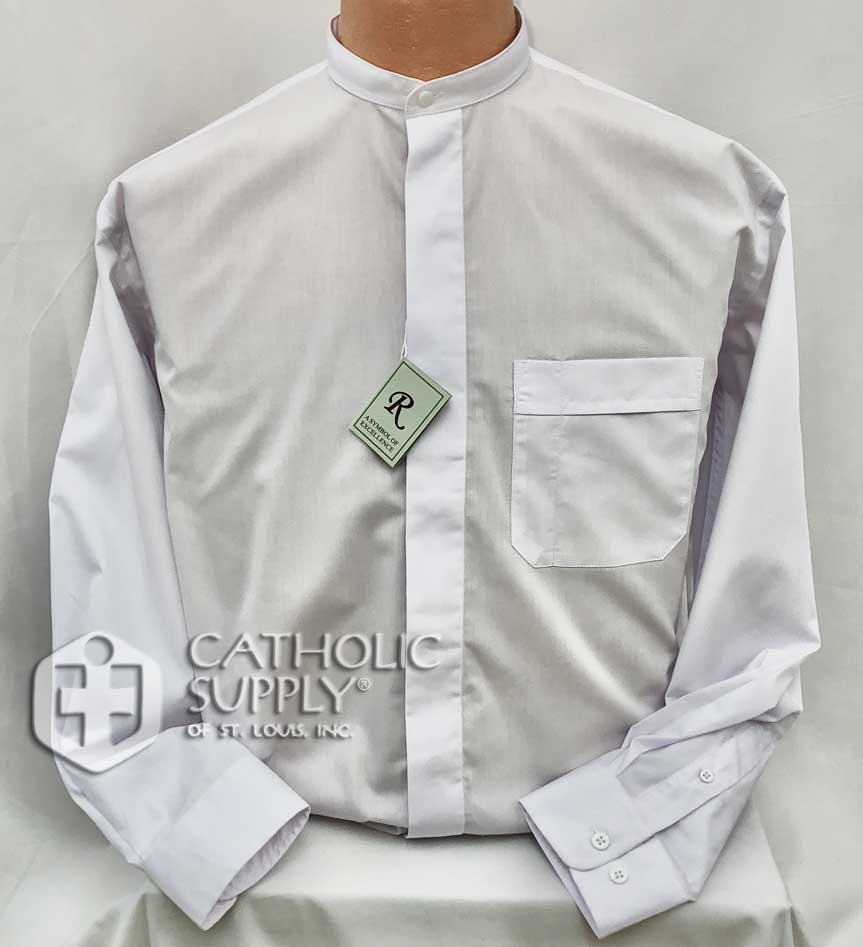 Reliant Long Sleeve White Neckband Collar Shirt