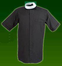 Reliant Short Sleeve Black Neckband Clergy Shirt