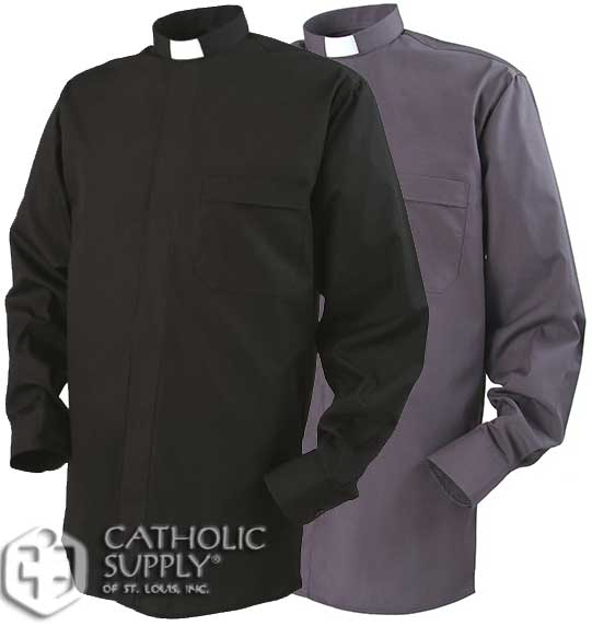 Reliant Tab Collar Clergy Shirt, Long Sleeve Grey Black