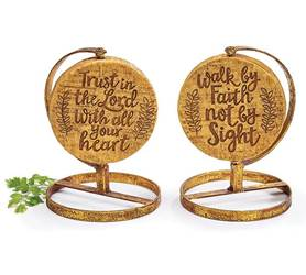 "Religious Resin/Metal Shelf Spinners Resin and metal décor two-sided spinning disc with the messages ""Walk by Faith Not by Sight"" and ""Trust in the Lord with All Your Heart"".   6"" H x 4 1/2"" W x 4 1/2"" D.  1 set of 4."