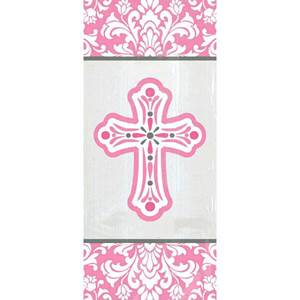 Religious Small Party Bags - Pink Cross, 20/pkg