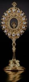 Reliquary Gold Plated Reliquary with Precious Crystal Stones and Cross 20cm tall