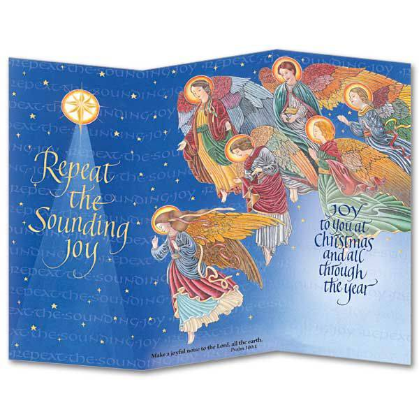 repeat sounding joy trifold boxed christmas cards - Tri Fold Christmas Cards