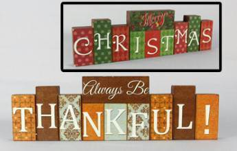 Reversible Christmas Thanksgiving Table Sign