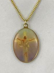 "Risen Christ Double-Sided Oval Necklace *WHILE SUPPLIES LAST* necklace, christ, oval, enamel, risen christ, 18"", easter gift, 74171"