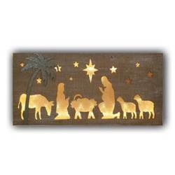16IN NATIVITY CUT OUT LIGHT PLAQUE - 9 LED LIGHTS