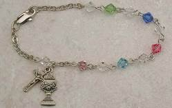 Rosary Bracelet rosary bracelet, crystal bracelet, first communion bracelet, first communion gift, holy eurcharist gift, girl bracelet, colored crystal bracelet, sacramental gift
