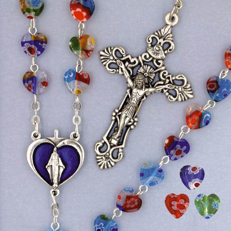 Rosary with Multi Colored Murano Styled Glass Heart Beads