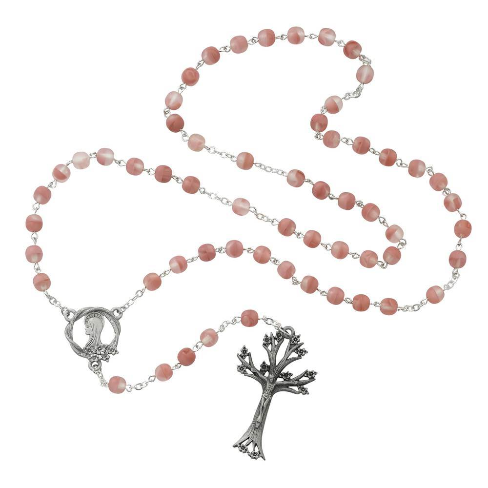 Rose Glass Bead Dogwood Rosary