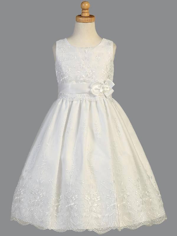 Flower Girls White First Communion Dress Embroidered Organza Wedding Party New