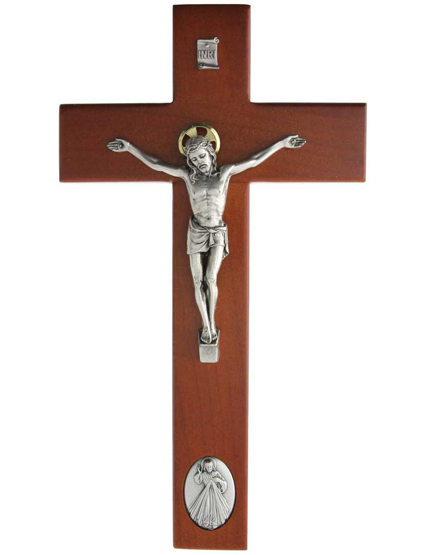 "Rosewood 9"" Wall Crucifix with Divine Mercy Medal"