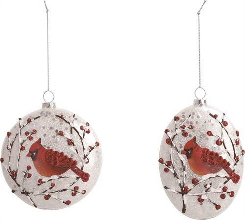 Round Glass Cardinal Ornament