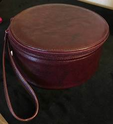 Round Leather Zucchetto Case zucchetto, case, leather case, round case