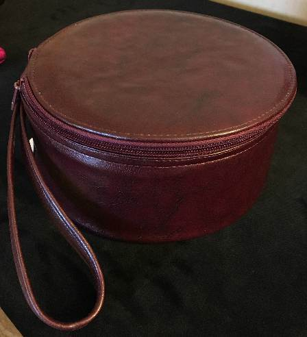 Round Leather Zucchetto Case - 58808