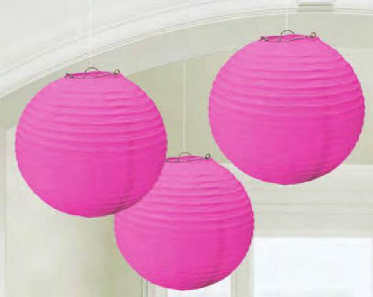 Round Paper Lanterns, Bright Pink 24055.103,first commmunion decorations, pink decorations, girl decorations, hanging decorations,partyware, paper product, sacramental party supplies, first communion partyware,boy partyware, girl partyware