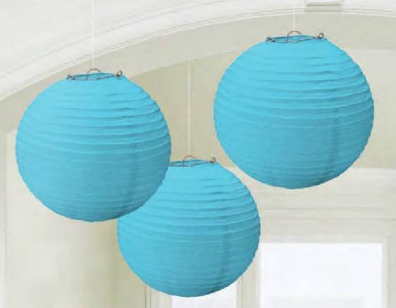 Round Paper Lanterns, Carribean Blue