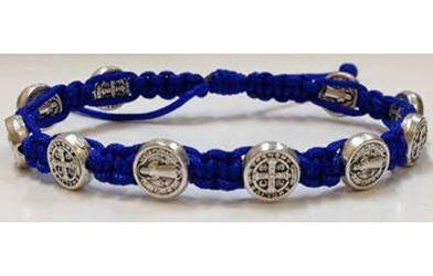 Royal Blue/Silver St. Benedict Blessing Bracelet with Story Card