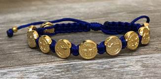 Royal Blue and Gold St. Benedict Blessing Bracelet with Story Card