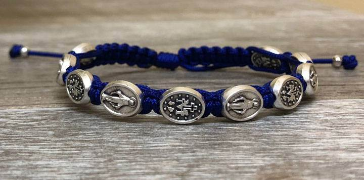 Royal Blue and Silver Miraculous Medal Blessing Bracelet