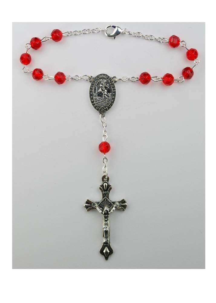 Ruby Auto Rosary - Carded