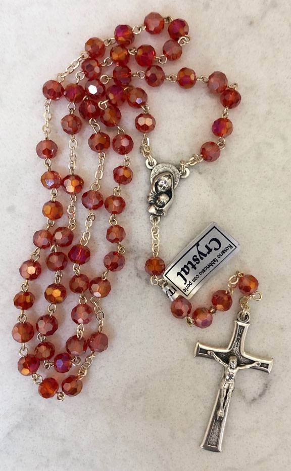 Ruby Red Crystal Rosary from Italy