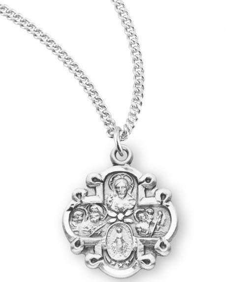 "Sterling Silver Small Fancy 4-Way Medal on 18"" Chain"