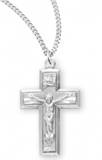 "Sterling Silver Wide Crucifix on 18"" Chain"
