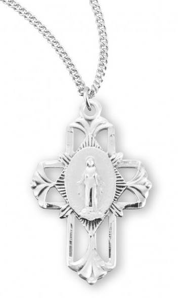 "Sterling Silver Miraculous Cross on 18"" Chain"