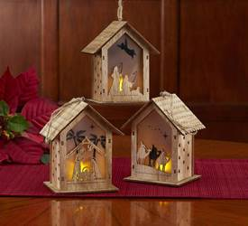 SET OF 3 Lighted Wooden Nativity Stable Ornaments