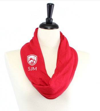 SJM Jersey Knit Infinity Scarf, Red with SJM Embroidered Logo