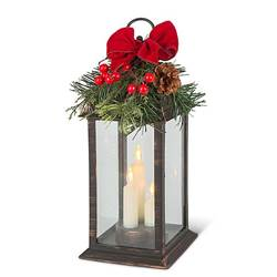 Lighted Holiday Lantern with Bow and Evergreen