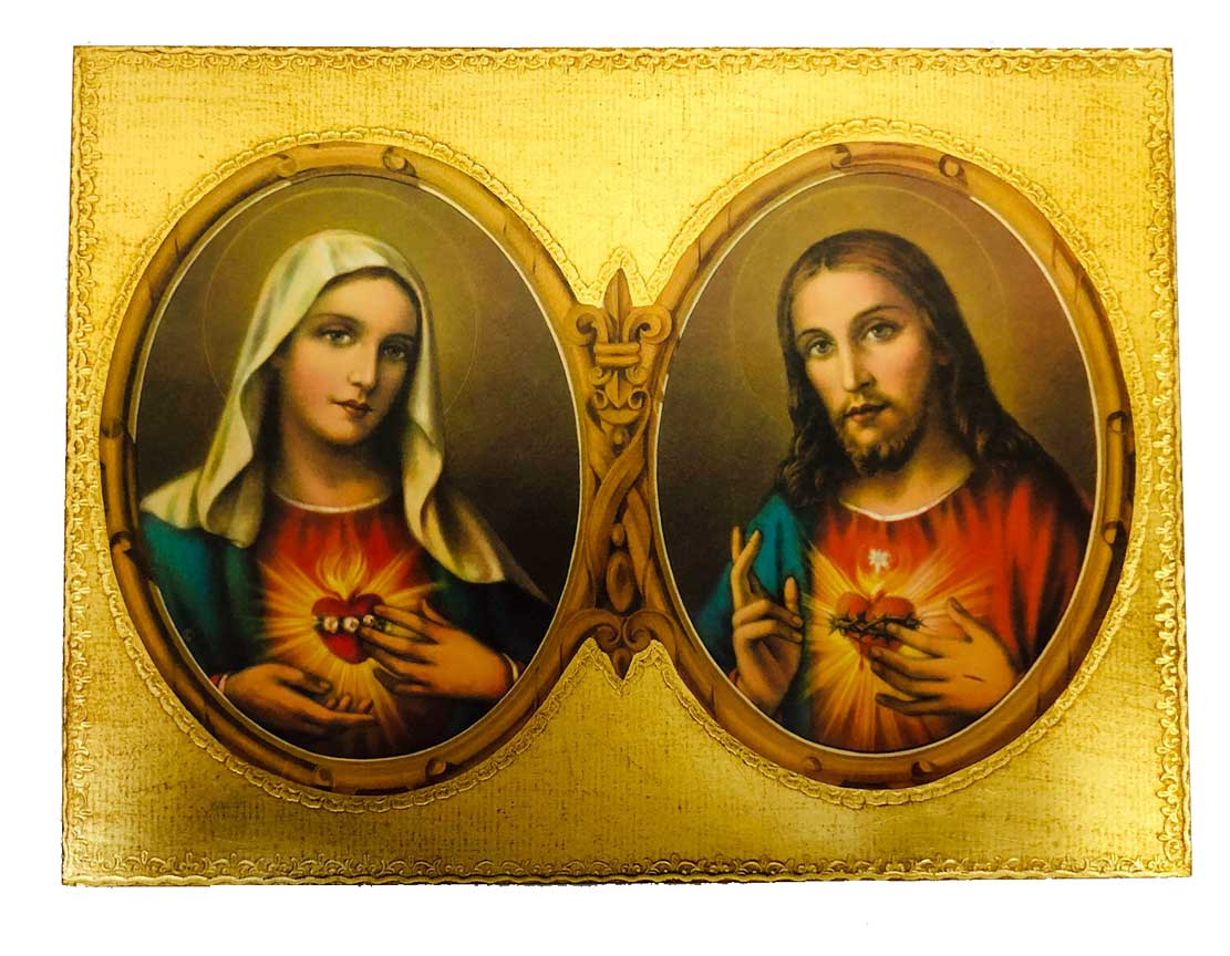 Sacred Heart of Jesus - Immaculate Heart of Mary Gold Leaf Wall Plaque from Italy