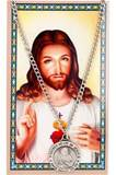 Sacred Heart of Jesus Pewter Necklace and Holy Card Set