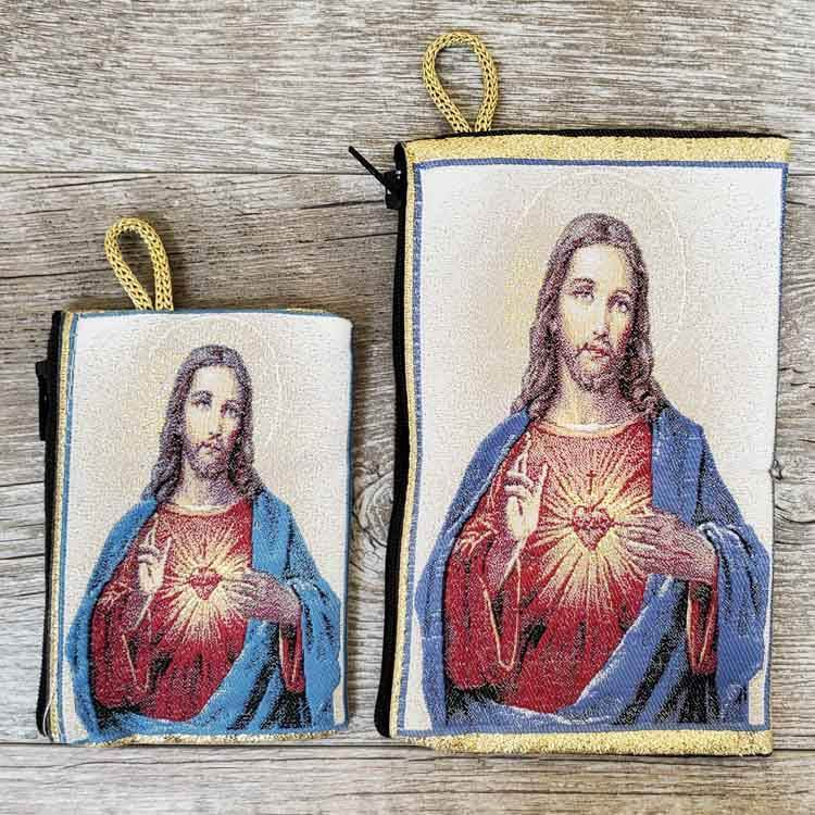 Sacred Heart of Jesus White Woven Rosary Pouch from Turkey