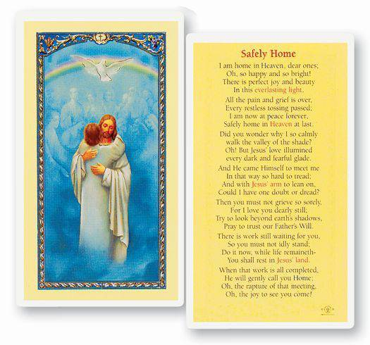 Safely Home Laminated Prayer Card