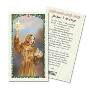 Saint Junipero Serra Laminted Prayer Card