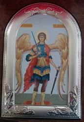 Saint Michael Canvas With Silver Plated Frame Made In Italy 11×7 1/2