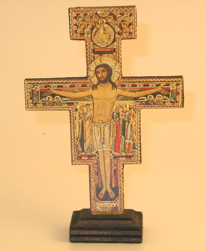San Damiano Cross On Base  cross, italian cross, san damiano cross, cross on base