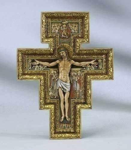 San Damiano Cross wall cross, italian cross, san damiano cross,  resin/stone cross, joseph studio cross