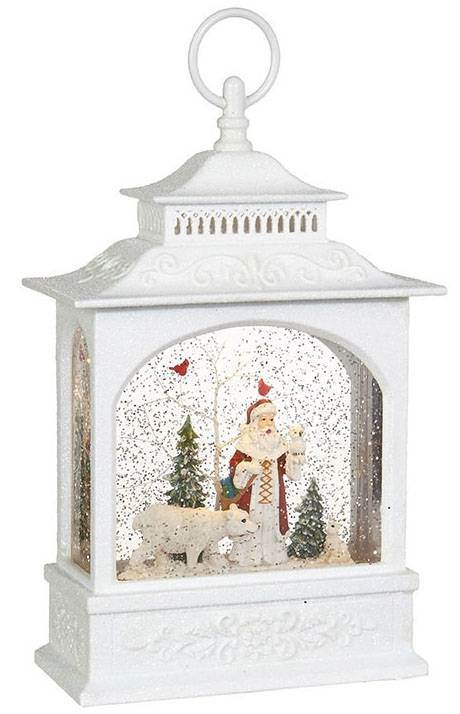 Santa and Polar Bear Lighted Water Lantern 12.5""