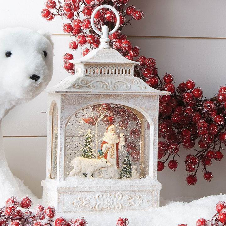 "Santa and Polar Bear Lighted Water Lantern 12.5"" TALL"