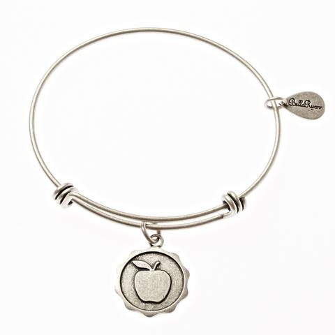 Silver Bangle with Apple Charm