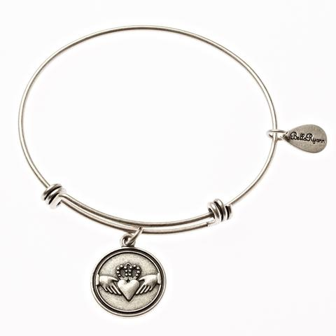 Silver Bangle with Claddagh Charm